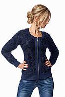 Молодежная женская кофточка на замке темно-синего цвета