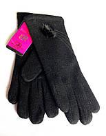 Женские перчатки кашемир/махра, черные (6,5-8,5)
