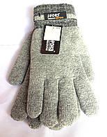 Мужские перчатки Корона Sport, вязка/махра, светло-серые