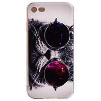 Накладка для iPhone 7 силикон 0,3mm Infinity Slim Glamour Кот в очках