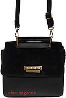 Женская сумка с натуральным замшем на клапане
