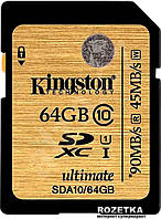 Карта памяти SDXC 64Gb class 10 Kingston UHS-I Ultimate (SDA10 / 64GB)