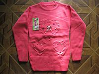 Детские теплые вязаные свитера-туники Сердце  для девочек 4-8 лет Турция