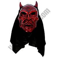 Маска Дьявол с рогами пластик ( маска карнавальная )