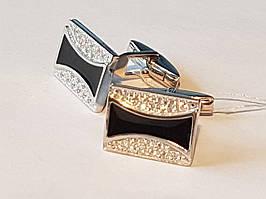 Серебряные запонки с фианитами и эмалью. Артикул 8627р