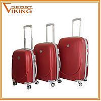 Набор чемоданов (3 в 1) Bonro Smile пластик, бордовый