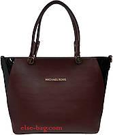 Женская сумка из эко кожи на круглой фурнитуре бордовая с черным лаком