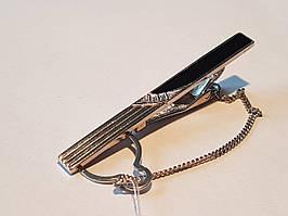 Срібний затиск для краватки з фіанітами і емаллю. Артикул 9610р