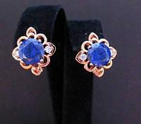 Красивые серьги позолота Xuping синий камень