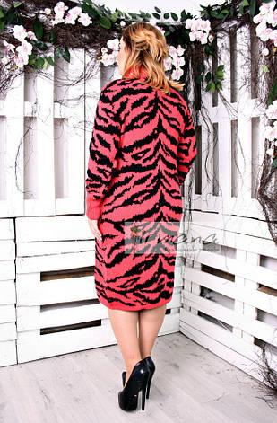 Вязаное платье теплое баталы Тигрица коралл, фото 2