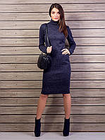Модное молодежное облегающее платье с высоким воротом, из ангоры