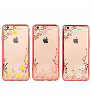 Накладка для iPhone 7 Plus силикон Золотой / розовые цветы