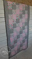 Одіяло із лоскутків в стилі пейчворк в сіро-рожевих тонах 1385
