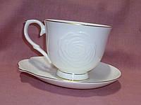 """Чашка с блюдцем чайная белая с золотом фарфоровая """"Роза"""""""