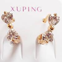 """Маленькие серьги кольца """"Бантик"""" с фианитами. Ювелирная бижутерия Xuping Jewelry, позолота 18К."""