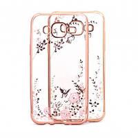 Накладка для Samsung A520F Galaxy A5 (2017) силикон Золотой / розовые цветы