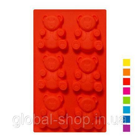 "Форма силиконовая для выпечки Stenson ""Мишки Барни"" 6 штук ,31х18х2,2 см"