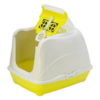Закрытый туалет с лопаткой и фильтром для кошек Модерна Флип Кэт Moderna Flip Cat лимонный