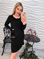 Красивое стильное платье с мехом серое черное тренд 2017