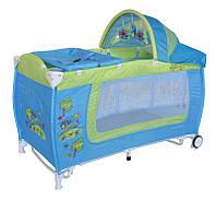 Детский манеж-кровать Bertoni DANNY 2L ROCKER (blue&green car), дуга с игрушками, пеленальный столик