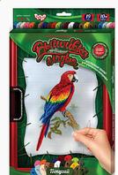 Набор для творчества Вышивка гладью с рамкой, попугай