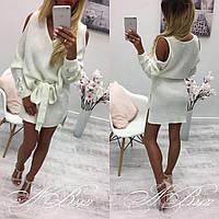 Женское свободное белое платье из ангоры под пояс. Ткань: ангора. Размер: см, мл.