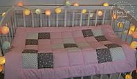 Одіяло із лоскутків в стилі пейчворк рожево-сірих тонах 1390