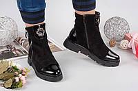 Зимние замшевые женские ботиночки с лакированным носком черные