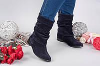 Демисезонные замшевые женские сапоги Fashion на низком ходу темно-синие