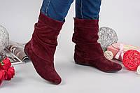 Демисезонные замшевые женские сапоги Fashion на низком ходу бордовые