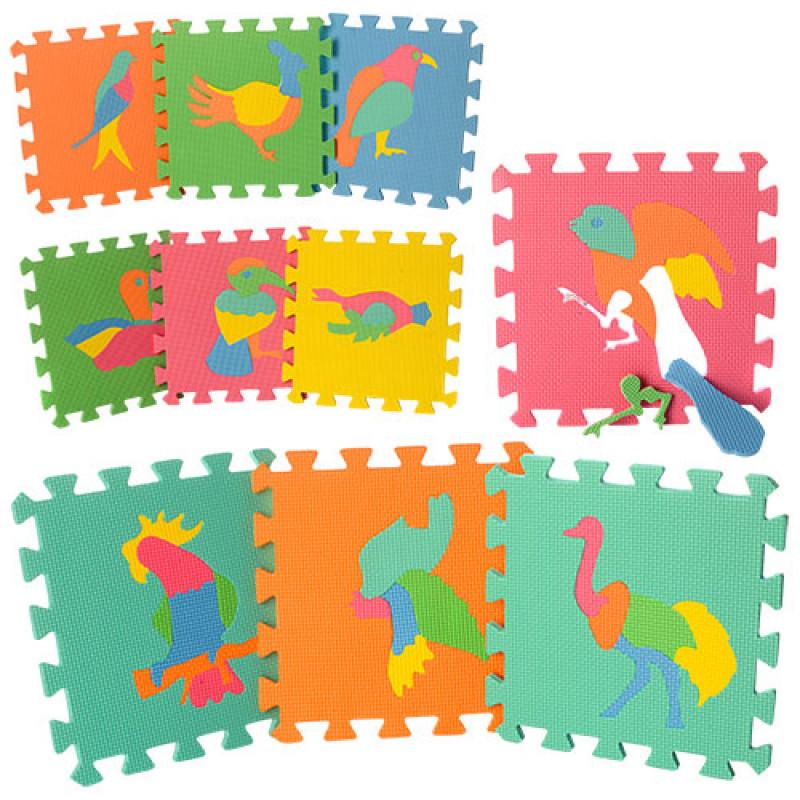 Детский Коврик Мозаика Пазл для пола М 0387Птицы, 10 деталей, упаковка 29х29х8 см
