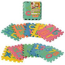 Детский Коврик Мозаика Пазл для пола М 2736 EVA алфавит (укр.) и цифры, 10 деталей, упаковка 29х29х8 см
