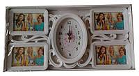 Фоторамка коллаж фигурный на 4 фотографии + часы (белый, светлый коричневый)