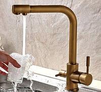 Бронзовый смеситель для раковины Aquaroom кран для умывальника в ванную в душ