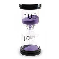 """Часы песочные (10 минут) """"Фиолетовый песок"""" (10х4,5х4,5 см)"""