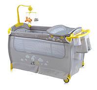 Детская манеж кроватка Bertoni SLEEP'N'DREAM (grey rabbit), пеленатор, дуга с игрушками
