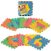 Детский Коврик Мозаика Пазл для пола М 2738EVA Фигуры животных, 10 деталей, упаковка 29х29х8 см