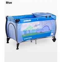 Манеж-кроватка Caretero Medio Classic - blue, пеленальный столик, колеса
