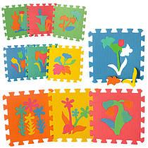 Детский Коврик Мозаика Пазл для пола М 0386 EVA Растения, 10 деталей, упаковка 29х29х8 см