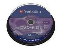 Диск 1 шт. DVD + R Double Layer 8.5Gb + конверт Verbatim (box, 10) двухслойные