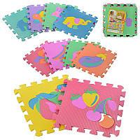 Детский Коврик Мозаика Пазл для пола М 0376 EVA Фрукты и Животные, 10 деталей, упаковка 29х29х8 см
