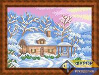 Схема для вышивки бисером - Домик зимой на закате, Арт. ПБп4-31