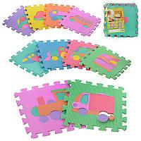 Детский Коврик Мозаика Пазл для пола М 0377EVA Транспорт, 10 деталей, упаковка 29х29х8 см