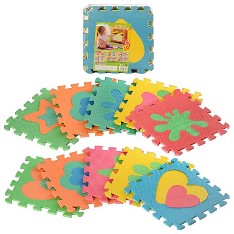 Детский Коврик Мозаика Пазл для пола М 2739EVA Фигуры разные, 10 деталей, упаковка 29х29х8 см