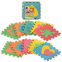 Детский Коврик Мозаика Пазл для пола М 2739 EVA Фигуры разные, 10 деталей, упаковка 29х29х8 см