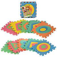 Детский Коврик Мозаика Пазл для пола М 2737EVA Фигуры больше - меньше, 10 деталей, упаковка 29х29х8 см