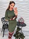 Стильное платье резинка с принтом миди машинная вязка розовое, зеленое и серое