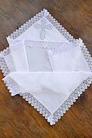 Кружевная крыжма для крещения с капюшоном и вышивкой 6 (75х90 см) ТМ Глаздов Белый