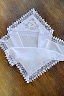 Крыжма для крещения с капюшоном и вышивкой №5 (75х100 см) ТМ Глаздов Белый