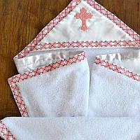 Махровая крыжма для крещения с украинским орнаментом №40-19 с вышивкой красным ТМ Глаздов